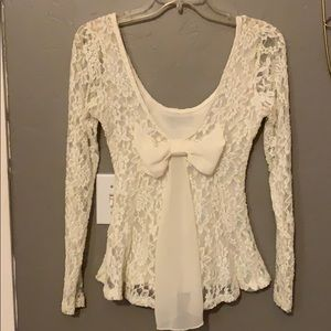 Ivory lace bow shirt